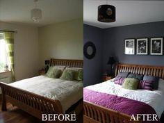 El antes y el después del dormitorio de Violet.