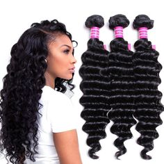VRVOGUE Brazilian Deep Wave 3 Bundles 100% Human Hair 7A Unprocessed Natural Color Brazilian Virgin Weave Hair Extensions (8 10 12)