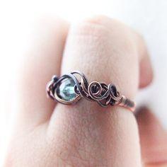 blue gemstone  ring  unique blue bohemian apatite by KicaBijoux, $28.00