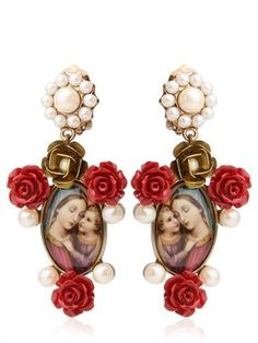 ShopStyle: Dolce & Gabbana - Virgin Mary & Red Rose Resin Earrings