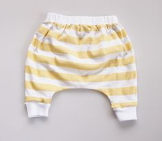 Lightweight Hand Printed Organic Cotton Baby Slouch Pants - Yellow Stripe on White. $39.00, via Etsy.