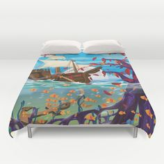 Sailship Dropping Anchor in the Ocean surrounded by clownfish Duvet Cover