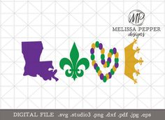 This is the digital download file for the Mardi Gras Love Digital file. The design can be used to make shirts, home decor, signs. Show your Mardi Gras spirit and Let The Good Times Roll with this Mardi Gras decal design! You can make a really cute Mardi Gras sign with this digital cut file. This digital cut file comes with the file formatted to the following: SVG, STUDIO3, DXF, PDF, JPG & PNG and it is compressed to a zip folder. I  This Mardi Gras design was tested in Cricut Design Spac...