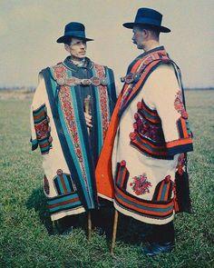 COAT-NEEDS: Hungarian cowherds in cifraszűr [1929] photograph by Gönyey Sándor
