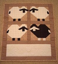 SHEEP Quilt Wall Hanging 3D Hand Quilted Lamb