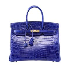 HERMES BIRKIN 35 vivid Electric Bleu bag porosus crocodile palladium |