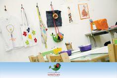 Espaço da Costura: em exposição na parede, algumas das atividades que a criança pode fazer.