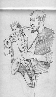 SaxKing in the Jazz Club, Florence, Italy. Pencil on paper.