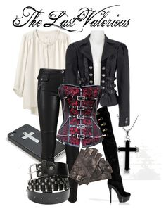 """""""Anna Valerious - Van Helsing"""" by sarahscan97 ❤ liked on Polyvore featuring rag & bone, BLANK, Rachel Zoe, Bullet, steampunk, over the knee boots, corset and crucifix"""