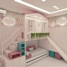 Planning to build a loft bed for kids in the nursery? Get creatively inspired with these delightful kids loft beds ideas in our gallery! Kids Bedroom Designs, Cute Bedroom Ideas, Cute Room Decor, Kids Room Design, Awesome Bedrooms, Cool Rooms, Nursery Ideas, Bed For Girls Room, Girl Room