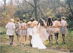 Airplane Hanger Wedding Bride Bridesmaids Coral Brown Beige Fall Bouquets