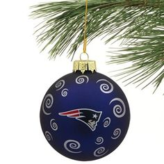 New England Patriots Swirl Ball Ornament - Navy Blue