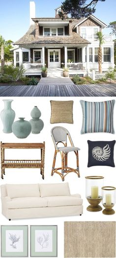 Get this Beach House Look by chiccoastalliving, featuring our Riviera Bar Stool and South Seas Bar Cart. Coastal Cottage, Coastal Homes, Coastal Living, Coastal Style, Coastal Decor, Coastal Colors, Beach Homes, Cottages By The Sea, Beach Cottages
