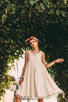 Moon River Midi Natural Dress With Tassels