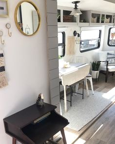 This little entryway used to have a bulky cabinet attached to the wall that took up a ton of space but could hardly fit anything inside of… Rv Living, Tiny Living, Rv Upgrades, Rv Redo, Camper Life, Rv Life, Popup Camper, Rv Accessories, Camper Makeover