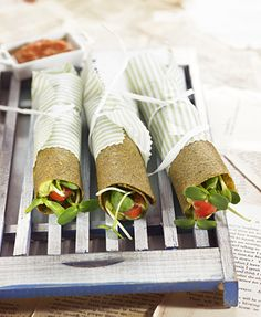 Avocado cream rolls with sunflower sprouts