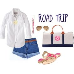 Road trip outfit: denim shorts, white button down, monogrammed necklace, croakies and sunglasses, duffel and jacks