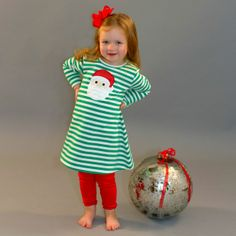 11/18/2013   Green Striped Long Sleeve Knit Santa Dress