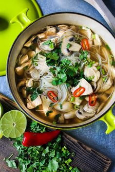 Thai Chicken Noodle Soup A steaming bowl of Thai Chicken Noodle Soup - healthy, low fat, gluten free and full of amazing Thai flavors - is just what is need to get back on track. It's like mom's chicken noodle soup, with a twist. Chicken stock is infused Healthy Recipes, Asian Recipes, Soup Recipes, Cooking Recipes, Dinner Recipes, Ethnic Recipes, Healthy Breakfasts, Vegetarian Cooking, Healthy Snacks