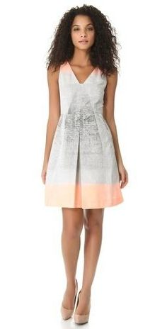 Chic Spring/Summer Fashion: Rachel Roy Dress: Pastel Peach edges brighten a grey splatter print, bringing artistic beauty to this dress.