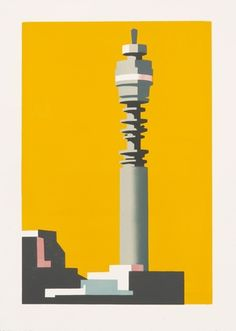 Limited edition linocut print Telecom Yellow by contemporary British printmaker Paul Catherall. Linocut Prints, Art Prints, Urban Art, Artist At Work, Contemporary Art, Abstract, Inspiration, Printmaking, Graphic Design Posters