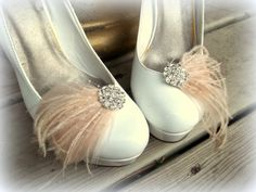 Bridal Feathered Shoe Clips - set of 2 - Sparkling Crystal Rhinestone Accents - wedding, engagememt