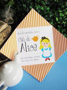 Convite personalizado para Festa Alice no País das Maravilhas por Design Festeiro