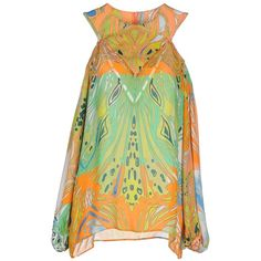 Emilio Pucci Top ($640) ❤ liked on Polyvore featuring tops, apricot, sleeveless tops, multi color tops, emilio pucci tops, emilio pucci and colorful tops