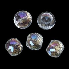 10 Glass Beads Clear AB Drum Large Loose by OverstockBeadSupply