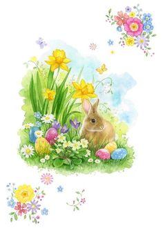 la-easter-rabbit-n-eggs-jpg / Dekokin Bunny Art, Cute Bunny, Bird Book, Easter Pictures, Flower Fairies, Vintage Easter, Easter Crafts, Vintage Images, Happy Easter