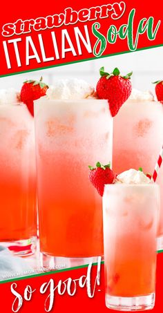 This easy recipe for Strawberry Italian Soda is the perfect summer drink! Bubbly, cool, refreshing and just perfect for poolside or parties! This easy Italian Soda recipe can adapted to other flavors so easily! // Mom On Timeout