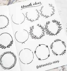Doodled some little Wreaths in my bullet journal today, and they're really not as complicated as they look if you remember to use pencil… Bullet Journal Headers, Bullet Journal School, Bullet Journal Aesthetic, Bullet Journal Notebook, Bullet Journal Ideas Pages, Bullet Journal Inspiration, Pigma Micron, Wreath Drawing, Wreath Ideas