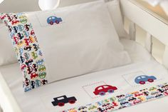 Boys and cars Cot Quilt, Crib Bedding, Baby Sheets, Art Drawings For Kids, Baby Embroidery, Baby Kit, Baby Sweaters, Baby Decor, Baby Sewing