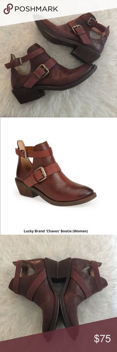 Lucky brand Chaves open buckle bootie. Lucky boot Excellent used condition women's size 8.5 lucky brand Chaves bootie. Worn 2-3 times. Very good condition. No holes, stains or tears. No low ball or trades. Brown/red color Lucky Brand Shoes Ankle Boots & Booties