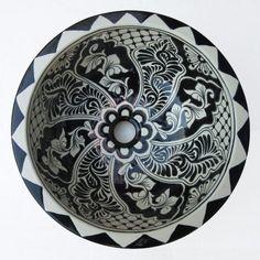 Black & White Ceramic Basin (On-Top) Size: 36cm in Diameter by 16cm in Height