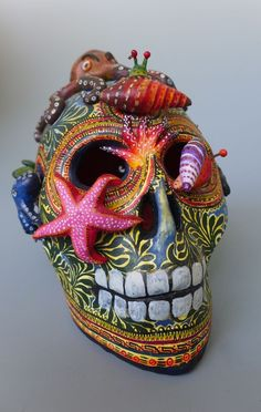 "Mexican ceramic Day of Dead ocean skull calavera ALFONSO CASTILLO 5 1/4"" tall…"
