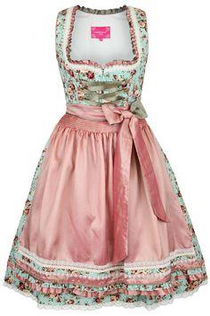 Krüger Dirndl kurz türkis Rosen Dirndl Rose, Pink Outfits, Fashion Outfits, Cotton Frocks, Italian Outfits, Retro Fashion, Womens Fashion, The Dress, Costumes