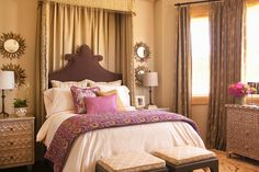 Taylor Borsari - bedrooms - purple and brown bedroom, moroccan bedroom, moroccan style bedroom, beige walls, bed valance, bed curtains, bed ...