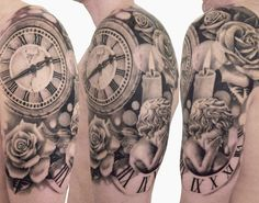 Pretty realistic black and grey Time tattoo art done by artist Speranza Tatuaggi Watch Tattoos, Time Tattoos, Body Art Tattoos, Henna Tattoos, Finger Tattoos, Temporary Tattoos, Stop Watch Tattoo, Time Piece Tattoo, Great Tattoos