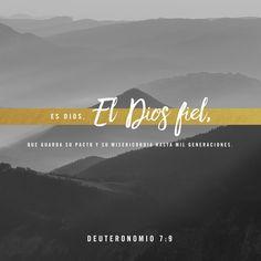 """""""Reconoce, por lo tanto, que el SEÑOR tu Dios es verdaderamente Dios. Él es Dios fiel, quien cumple su pacto por mil generaciones y derrama su amor inagotable sobre quienes lo aman y obedecen sus mandatos."""" Deuteronomio 7:9 Amén 🙏🏽❤️ Bible.com"""