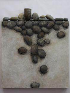 Lisa Hunter | 'Tumbled'.  Fiberboard, gesso, paint, charcoal, pastel, paper cord, waxed linen thread, stones, 2010
