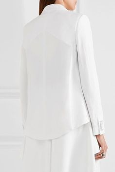 White stretch-crepe Slips on 52% rayon, 48% acetate; lining: 96% silk, 4% elastane Dry clean Made in Italy