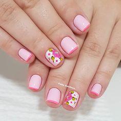 Nail Polish Designs, Cute Nail Designs, Spring Nails, Summer Nails, Classy Acrylic Nails, Floral Nail Art, Manicure E Pedicure, Short Nails, Nails Inspiration