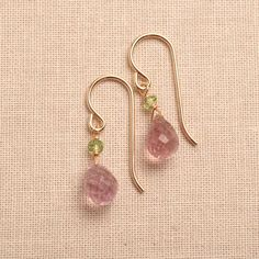 pink green earrings light pink gemstone earrings pink by izuly, $54.00