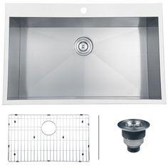 5. Ruvati RVH8000 Overmount 16 Gauge 33″ Kitchen Sink Single Bowl, Stainless Steel