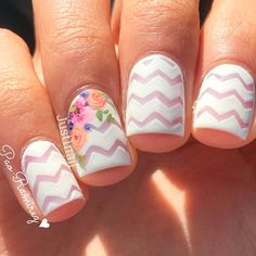 Color is very important in any visual designs, so is nail art. Discover top 100 white nail art designs that are actually easy! Nail Art Designs, Chevron Nail Designs, Chevron Nail Art, Floral Designs, Nautical Nails, Spring Nail Colors, Spring Nail Art, Spring Nails, Funky Nails
