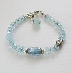 Aquamarine Kyanite Sterling Silver Bead Blue Gemstone Bracelet Sundance djs