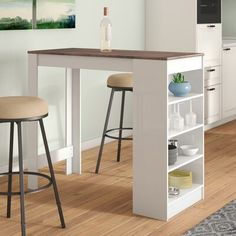 The Pub Table is extremely functional. Perfect for small spaces, this table features side storage shelving and can accommodate up to four bar stools. Kitchen Table With Storage, Small Kitchen Tables, Kitchen Dining Sets, Dining Rooms, Small Bar Table, Small Breakfast Table, Small Kitchens, Small Tables, Open Kitchen