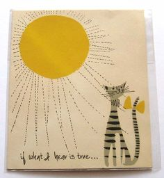 Sun & Cat on vintage card