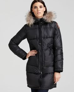Light Long Bear Women High Fill Power Black Down Parka